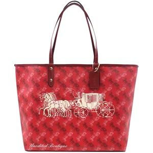 COACH Reversible Carriage Tote Handbag, Red